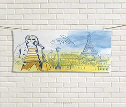 Anniutwo Paris,Hand Towel,Paris Theme Eiffel Tower Hand Draw