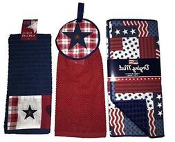 Patriotic American Flag Patchwork 3-pcs Kitchen Bundle Set,