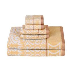 Bamsilk Bamboo Cotton Bath Towel Sets- Floral Jacquard Patte