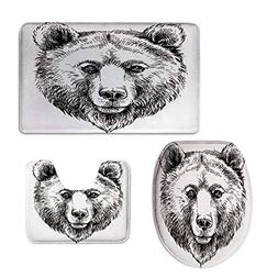 iPrint Pattern,Animal,Hand Sketch Grizzly Bear Wildlife Mamm