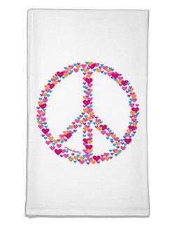 TOOLOUD Peace Sign Hearts Flour Sack Dish Towel