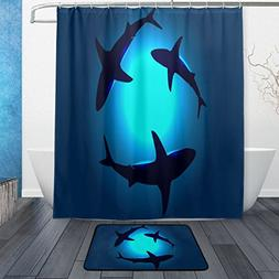 Peaceful Floating Swimming Sharks Under the Blue Ocean Sea W