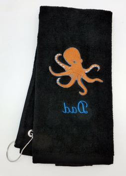 Personalized Embroidered Golf/Bowling Towel The Octopus