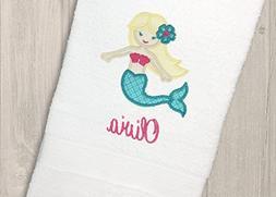 Personalized Mermaid Bath Towel, Monogrammed Kids Bathroom D