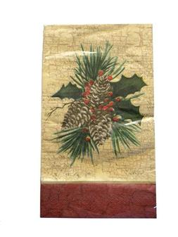 Pine Cone Holly Buffet Guest Hand Towels Napkins Party Paper