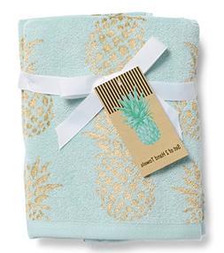 Pineapple Set of 2 Hand Towels Bathroom Gold on Aqua 18 x 28