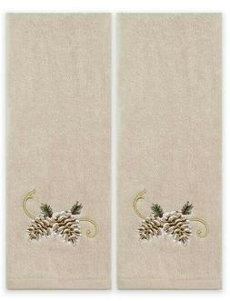 Pinehurst Hand Towels Set of 2 Pine Cone Embroidered Log Cab