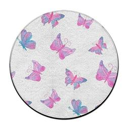pink butterfly pattern area rug