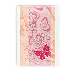Hot Pink And Orange Flax Linen Towel With Butterfly, Tea Dis