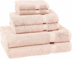 Pinzon Organic Cotton Bathroom Towels, 6 Piece Set, Pale Pin