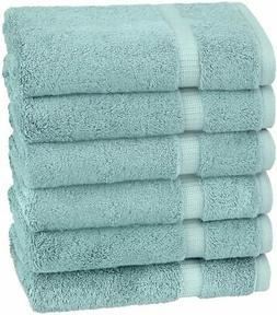 Pinzon Organic Cotton Hand Towels, Set of 6, Spa Blue