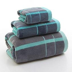 Ustide 3 pieces Plaid Bath Towel Set, 100% Thicken Cotton Ha