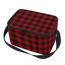 Naanle Plaid Pattern Canvas Zipper Insulated Lunch Bag Coole