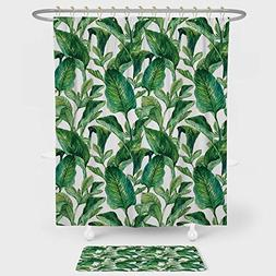 Plant Shower Curtain And Floor Mat Combination Set Equatoria
