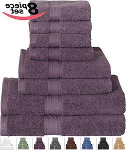 Plum Bath Towel Set 8-Piece Includes 2 Bath Towels, 2 Hand T