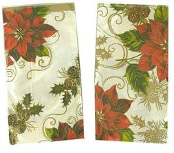 Poinsettia Pine Cone Buffet Guest Hand Towels Napkins Party