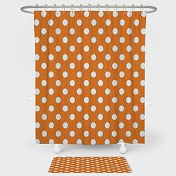 Polka Dots Shower Curtain And Floor Mat Combination Set Clas