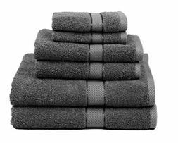 Premium Bamboo Cotton 6 Piece Towel Set 2 Bath Towels 2 Hand