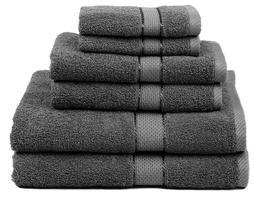 Premium Bamboo Cotton 6 Piece Towel Set (2 Bath Towels, 2 Ha