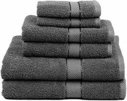 Premium Bamboo Cotton 6 Piece Towel Set (2 Bath Towels, 2 Ha