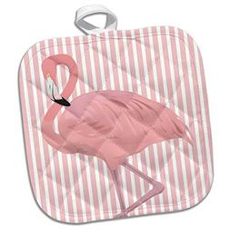 3dRose Pretty Flamingo on Striped Pink Background Potholder,