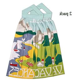 Banyan Central Printed Hanging Kitchen Hand Towels or Dish C
