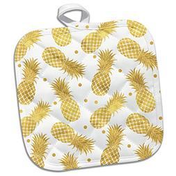 3dRose Picturing Gold Glitz Confetti Pineapples Potholder, 8