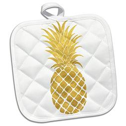 3dRose Picturing Gold Glitz Pineapple Potholder, 8 x 8""