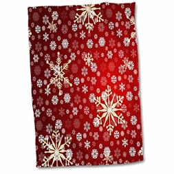3dRose PS Christmas - Red and White Christmas Snowflakes - W