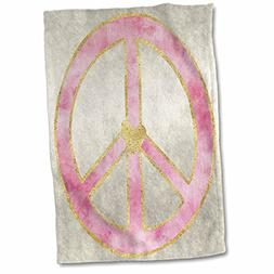3dRose PS Inspiration - Pink Gold Watercolor Heart Peace Sig
