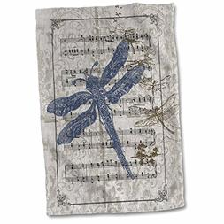 3D Rose Vintage Dragonflies On Sheet of Music Hand/Sports To