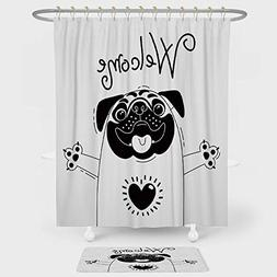 iPrint Pug Shower Curtain Floor Mat Combination Set Cute Bla
