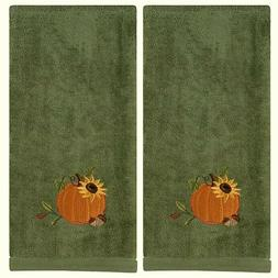 Pumpkin Harvest Fall Bathroom Hand Towel Sage Green Set 2 10