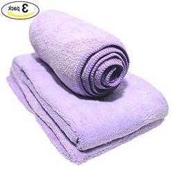 Purple Micro Fibre Facial / Hand Towels  LUXURY PLUSH  - Ult