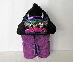 Magenta Purple Rainbow Dragon Hooded Bath Towel - Baby, Chil