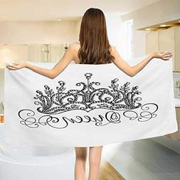 Queen,Bath Towel,Hand Drawn Crown with Queen Lettering Baroq