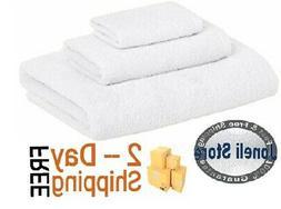 AmazonBasics Quick-Dry Towels - 100% Cotton, 3-Piece Set, Wh