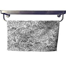 Suchashome Quick-Dry Towels Hand Drawn Floral Wallpaper Towe