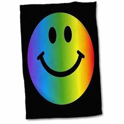 3dRose Rainbow Smiley Face Hand Towel