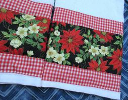 RED GINGHAM fabric TRIM Set  HOLIDAY Colors Custom Hand Towe