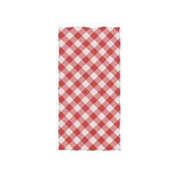 LORVIES Red Gingham Square Pattern Hand Towel Soft Bath Towe