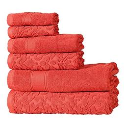 6 Piece Red Jacquard Towel Set With 27 X 54 Inches Bath Towe