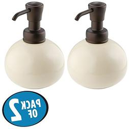 mDesign Retro Small Round Refillable Liquid Hand Soap Cerami
