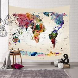 retro world map wall hanging tapestry sleeping