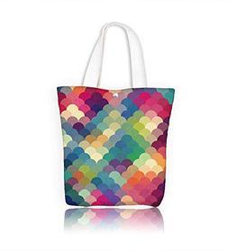 Reusable Cotton Canvas Zipper bag Abstract colorful geometri