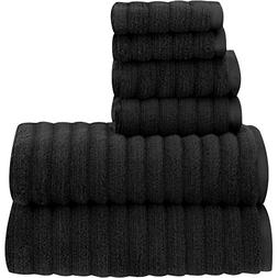6 Piece Rich Black Textured Towel Set With 30 X 54 Inches Ba