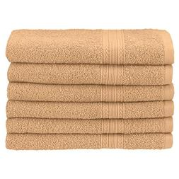 Superior Ringspun Cotton, 6 PC Hand Towel Set-Camel