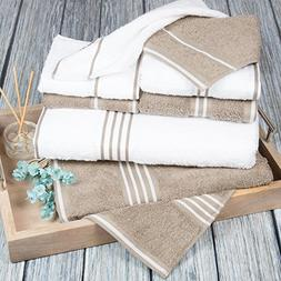 Bedford Home Rio 8 Pc Cotton Towel Set White & Taupe