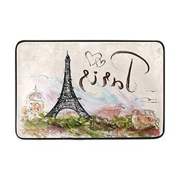 CojicoPily Romantic Hand Drawn Paris Eiffel Tower Door Mat,I