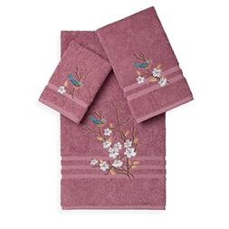 3 Piece Rose Blue Bird Flowers Applique Embroidered Towel Se